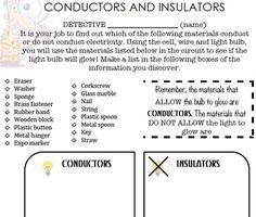 One Extra Degree: Insulators & Conductors Sort | Here's to the ...
