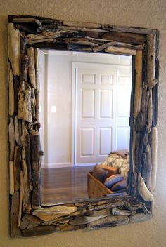 Drift Wood Mirror: This would be fun to do.