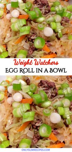 Recipes For 2 Egg Roll in a Bowl – 2 smartpoints This Easy and quick Egg roll in a Bowl recipe has all the flavors of a traditional egg roll. This Egg Roll in a Bowl Come with Only 2 weight watchers smart Points and also Points plus. Weight Watchers Menu, Weight Watchers Smart Points, Weight Watcher Dinners, Ww Recipes, Asian Recipes, Cooking Recipes, Healthy Recipes, Points Plus Recipes, Recipies