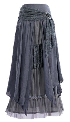 Layered Skirt with Brooch:  GaelSong -a ruffly skirt - with swirling gauze panels, netting and a swag of lace looped off-center in a shiny brooch - but in a flinty grey. This layered skirt is a little bit princess and a whole lot of wicked sister.