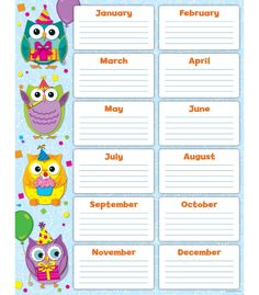 Looking for a Printable Birthday Charts For The Classroom Free. We have Printable Birthday Charts For The Classroom Free and the other about Printable Chart it free. Owl Theme Classroom, Classroom Birthday, Classroom Ideas, Classroom Displays, Classroom Organization, Student Birthdays, Starting A Daycare, Birthday Charts, Carson Dellosa