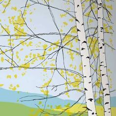 Wallpaper: Kaiku Panel in Yellow and Green by Marimekko.