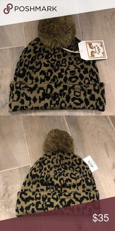 d9b530456de23 Obey beanie Brand new with tags. Leopard print Obey beanie with poof on top  Obey Accessories Hats