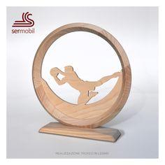 Trofeo in legno sport calcio portiere designer Gino Marsilio