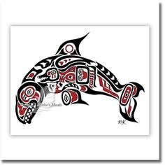 11x14 Pacific Dream - Native American Art, Haida Orca Tlingit Killer Whale, Pacific Northwest Coast Art, Alaska Art Decor - RED. Pacific Dream This is the first piece done in the Haida / Tlingit style. Because I was born on Vancouver Island in Canada, and grew up in the Yukon Territory, this style has a very special place in my heart. I adore this type of artwork, and spent a lot of time on this piece to remain true to the style, but also to include my own style as well. The killer whale…
