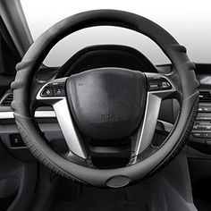 FH Group FH3003BLACK Black Steering Wheel Cover (Silicone W. Grip & Pattern Massaging grip Black Color-Fit Most Car Truck Suv or Van). For product info go to:  https://www.caraccessoriesonlinemarket.com/fh-group-fh3003black-black-steering-wheel-cover-silicone-w-grip-pattern-massaging-grip-black-color-fit-most-car-truck-suv-or-van/