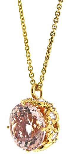 Morganite and Diamond Butterfly Pendant