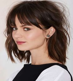 Tilted bangs with medium layer haircuts 2016