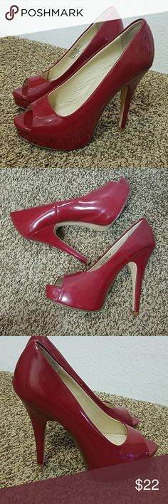"""Red Patent Peep Toe Heels Chinese Laundry hotness peep toe pump. Size 5.5M  5"""" Heel 1"""" Platform  Wore only once but has dirty bottoms and a spot on left heel. Two marks on top of left heel Chinese Laundry Shoes Heels"""