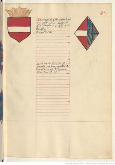 Coat of arms of Leopold IV, Duke of Austria and of Catherine of Burgundy. Receuil de la généalogie de la noble maison de Luxembourg.