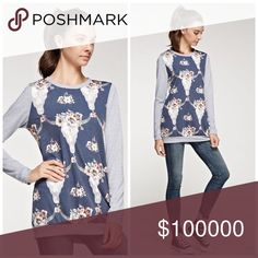 Arriving soon! Darling on trend sweatshirt! A flower head cow skull print contrast solid french terry top Sweaters