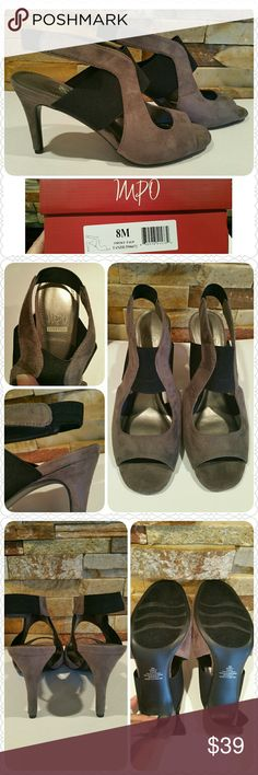 """IMPO Stretch """"Tanzie"""" heel in taupe, NEW w/box! IMPO Stretch brand heel, NEW with box!  * Size 8M * Smoky Taupe color * Textile upper has a suede feel * Non-skid sole * Black elasticized band holds foot in place * Elastic behind heel ensures a comfy fit * Non-smoking home of Aurora33180 IMPO Shoes Heels"""