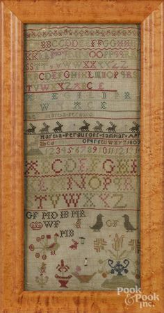 Silk on linen sampler, dated 1807, wrought by Martha Ferguson, 17'' x 7 1/4''. - Price Estimate: $100 - $150