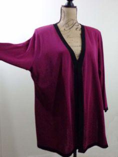 ART TO WEAR Lagenlook Missok jacket top artsy designer berry couture sz 1X #Misook #BasicJacket #EveningOccasion