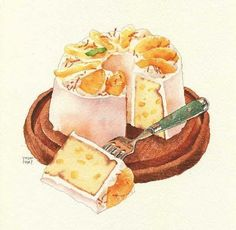 orange and peach slice cake illustration-no author mentioned Dessert Illustration, Watercolor Illustration, Desserts Drawing, Chibi Food, Pinterest Instagram, Cute Food Art, Food Sketch, Watercolor Food, Watercolour