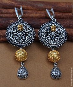 Earrings 'Byzantine Gold' in fine silver, oxidized sterling silver and gold-plated silver; by Lena Lyashevsky.