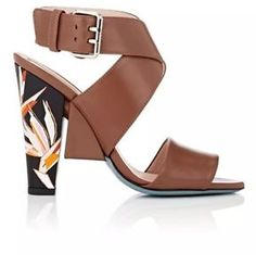 Fendi Brown Leather Graphic-Heel Open Toe Ankle-Strap Sandals 39. 5 New $900  | eBay
