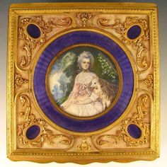 Antique French Signed Miniature Portrait Painting Purple Guilloche From The Antique Boutique on Ruby Lane, www.theantiqueboutique.rubylane.com