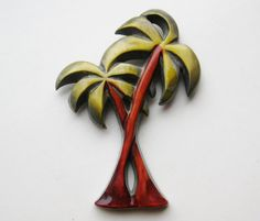 Vintage 40s Celluloid Figural Tropical Palm Tree by SoCalJewelBox, $54.00