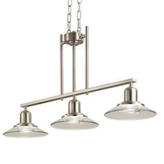 Fixture finish: Brushed nickel finish Shades: Clear bent-disc glass Includes: 36-inch chain/ 96-inch wire Number of lights: Three (3) lights...