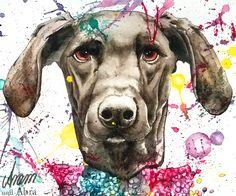Galerie Aram und Abra   Luke, Aquarell und Tusche auf Papier, Ref.: Lizbeth Hundefotografie   Hund   Mischling   bunt   Farbe   Kunst   Zeichnen