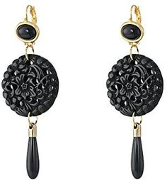 Kenneth Jay Lane Small Top/Round Carved Bottom w/ Drop Earrings Black Earring