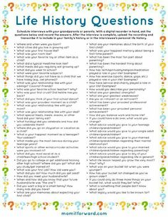 Life History Questions Printable List of family interview questions for your family history. Journal Writing Prompts, Journal Topics, Journal Ideas, Journal Prompts For Teens, Typewriter Series, Personal History, Family Genealogy, Genealogy Chart, Genealogy Websites