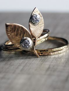 Solid 14K Gold Mother Nature ring- Made to Order