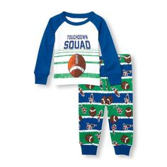 Baby And Toddler Boys Long Raglan Sleeve 'Touchdown Squad' Graphic Top And Printed Pants Pj Set