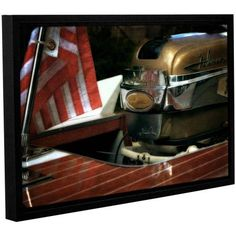 ArtWall Kevin Calkins Chris Craft and Old Glory Gallery-Wrapped Floater-Framed Canvas, Size: 12 x 18, Silver