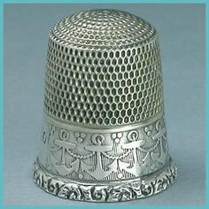Vintage sterling silver anchor thimble, Simons Brothers, circa 1920s