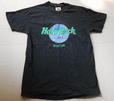 Vintage HARD ROCK CAFE Boston Men's Black T Shirt LARGE Hanes Beefy Made in USA #HardRockCaf #GraphicTee