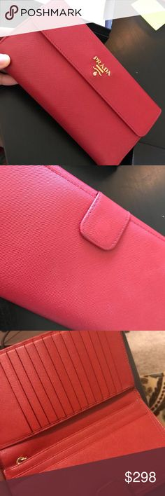 ce0e296fc Prada wallet In hot red color! Got it from desert hill outlet! Can fit