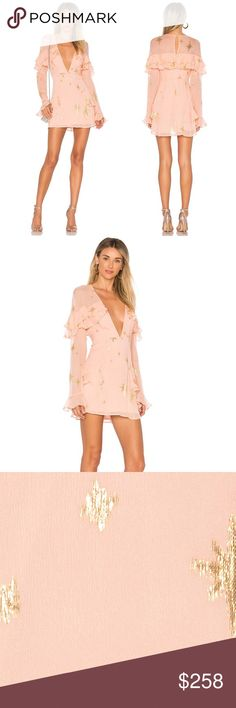 🍋For Love And Lemons🍋 Brand new with tags, in perfect condition For Love and Lemons brand dress. Color is pink with gold stars. Bought this at Nordstrom $290.00, tags are still attached and comes with an extra button.   PRODUCT DETAILS:  - Material for self is 90% Silk, 10% Nylon  - Material for lining 97% polyester, 3% spandex  - Fully lined  - Ruffle trim  - Gold metallic star accents - Back keyhole with button closure  - Hidden back zipper closure  - Manufacturer style no. CD1625G FA17…
