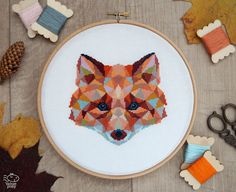 Geometric Fox Counted Modern Cross Stitch Pattern. This pattern is an instant download PDF. Size: 91w x 90h stitches 18 Count Aida: approx. 5.0w x 5.0h inches or 12.8w x 12.7h cm 16 Count Aida: approx. 5.7w x 5.7h inches or 14.5w x 14.3h cm 14 Count Aida: approx. 6.5w x 6.5h inches or 16.5w x 16.3h cm Stitches Required: Full cross stitches Colors Required: 27 DMC floss colors The sample was made on 18 count aida and framed in a 8 hoop. PDF Included: - Pattern in color symbols with floss…