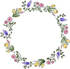 Watercolor flower wreath - sharpie and watercolour