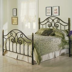 Queen size Metal Poster Bed with Headboard and Footboard in Autumn Brown