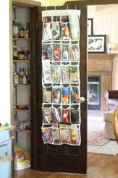 Over-the-door shoe organizer doubles as craft storage!  #school #crafts #organization #kids #closet