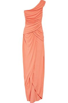Michael Kors stretch jersey papaya one shoulder gown 6 NWT