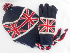 Union Jack Beanie HAT & GLOVES Set Unisex Chullo One Size Line Wool Acrylic Warm #Notspecified #Chullobeaniepullonhat