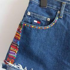 """aee93fc904758 @otoczaki on Instagram: """"Tommy Hilfiger spodenki szorty jeansowe z wysokim  stanem high waist unikat denim diy hand made boho etno folk rozmiar XL."""