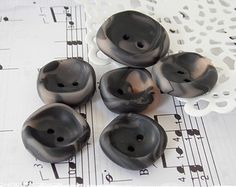 Polymer Clay Button supplies | Buttons, Charcoal Blac k Button, Polymer Clay Button, Sewing Supplies ...