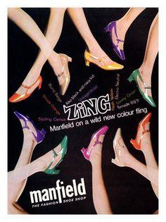 AP1418 - Zing, Manfield Fashion Shoes Advert, 1960s (30x40cm Art Print)