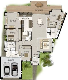 3 bed 2 bath 2 car garage house plan - Large House Plans