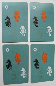 Your place to buy and sell all things handmade Vintage Playing Cards, Vintage Theme, Seahorses, Artist Trading Cards, Snails, Altered Art, Greeting Cards, Collage, Scrapbook