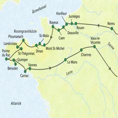 Route auf Normandie – Bretagne – im Überblick (ST :: Studiosus Studienreise :: Saison 2019 Cap Coz, St Malo, Honfleur, Brittany France, Caen, Camping Holiday, Reims, At A Glance, Loire