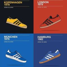 Poster showing the original release dates of four classic adidas shoes