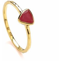 Dione London - Luciana Ruby Triangle Stacking Ring ($57) ❤ liked on Polyvore featuring jewelry, rings, ruby jewellery, triangle ring, ruby ring, geometric rings and stackable rings