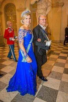 Dutch Queen Maxima and Prince Henrik, Consort of Denmark, attend a State Banquet 2015 at Christiansborg Palace in Copenhagen, Denmark.