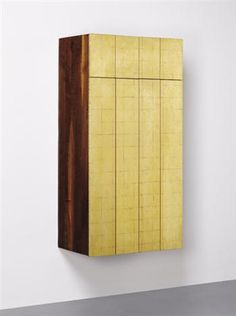 Phillip Lloyd Powell; Unique Gold Leaf and Walnut Custom Wall-Mounted Stereo Cabinet, c1963.
